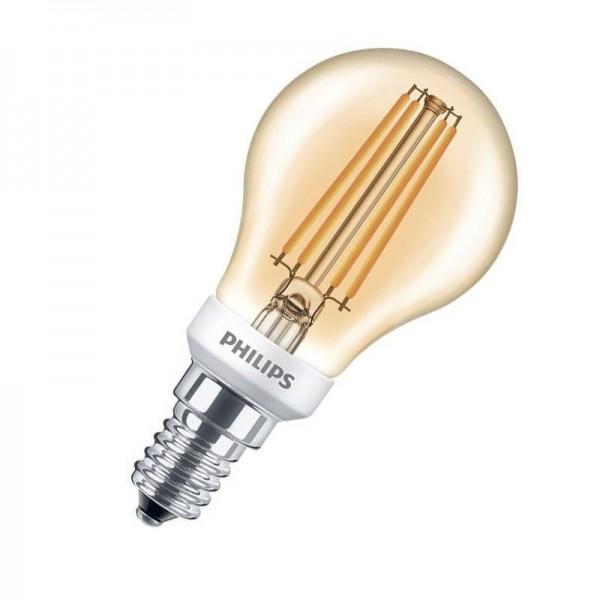 Philips LEDluster Classic P45 Gold Filament 5W 2500K warmweiß 410lm E14 klar dimmbar