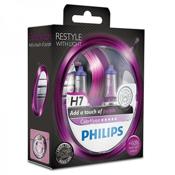 Philips ColorVision Purple H7 55W 12V 3350K warmweiß PX26d nicht dimmbar