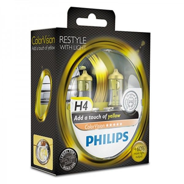 Philips ColorVision Yellow H4 60W 12V 3350K warmweiß P43t-38 nicht dimmbar