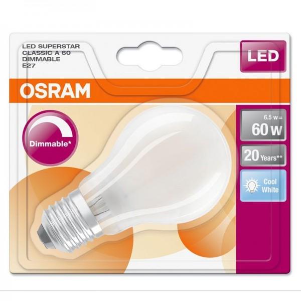 Osram/LEDVANCE LED Superstar Classic A 6,5W 4000K kaltweiß 806lm matt E27 dimmbar