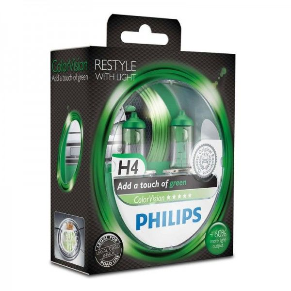 Philips ColorVision Green H4 60W 12V 3350K warmweiß P43t-38 nicht dimmbar