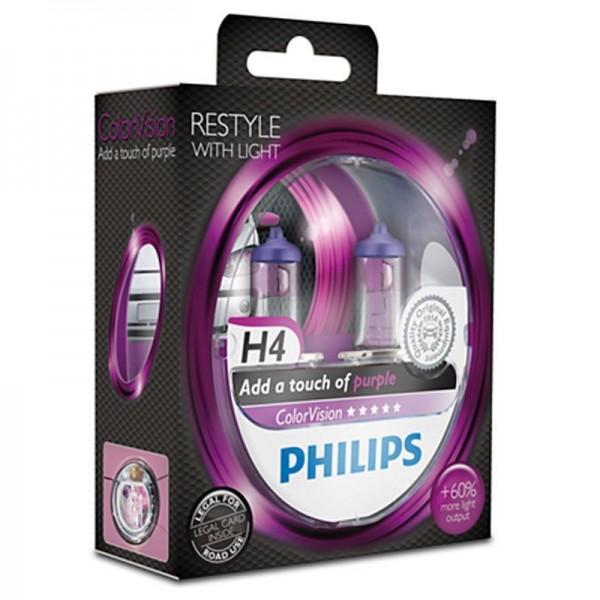 Philips ColorVision Purple H4 60W 12V 3350K warmweiß P43t-38 nicht dimmbar