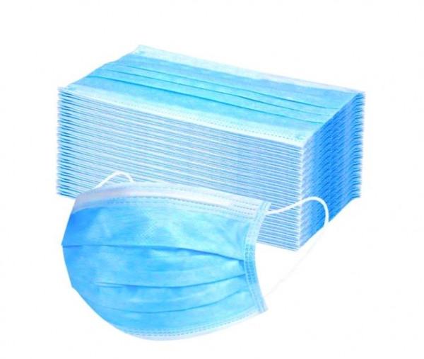 50x zertifizierter Einweg-Mundschutz 3-lagig – Mund- und Nasenbedeckung