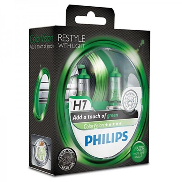 Philips ColorVision Green H7 55W 12V 3350K warmweiß PX26d nicht dimmbar
