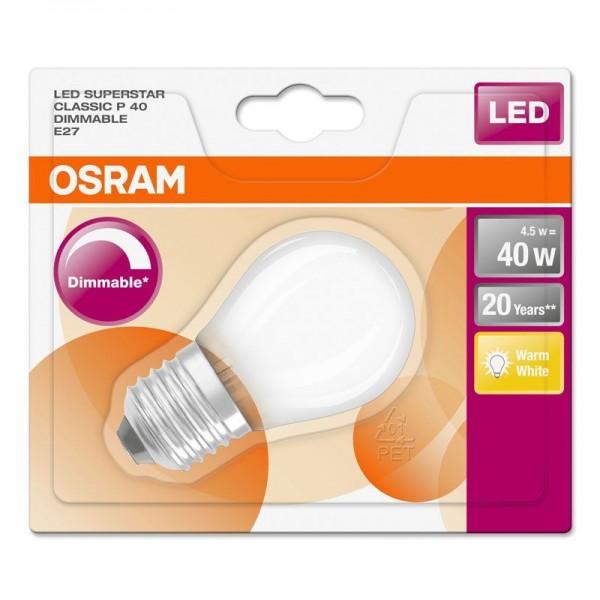 Osram/LEDVANCE LED Filament Superstar Classic P 4,5W 2700K warmweiß 470lm matt E27 dimmbar