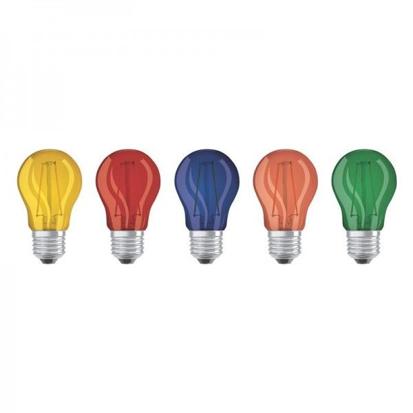 Osram/LEDVANCE LED Star Deco 5er Pack Classic A Filament 1,6W farbig 136 E27 nicht dimmbar